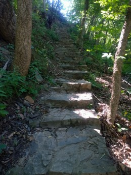 Steps on the trail at the edge of town